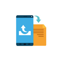 Screen smartphone with folder files isolated icon vector