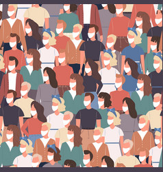 Seamless crowd people in white medical masks vector
