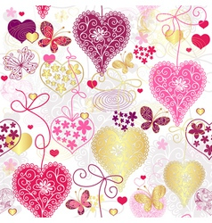 Seamless motley valentine pattern vector image