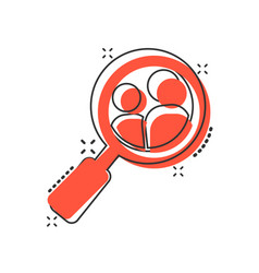 Search job vacancy icon in comic style loupe vector