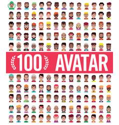 Set 100 men and women avatars in flat vector