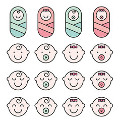set baby face simple icons varied expressions vector image