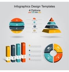 Set infographics design template with 4 options vector