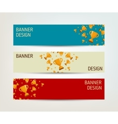 Set of banners with winners cup vector image