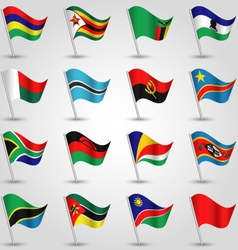 Set of flags southern africa vector