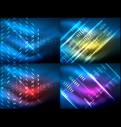 Set of glowing neon lines and shapes on dark vector