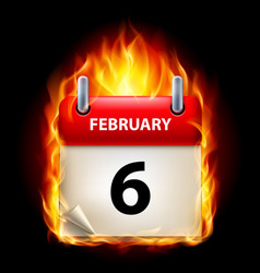 Sixth february in calendar burning icon on black vector