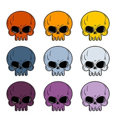 Skull set Colored skull Set of multi-colored head vector image