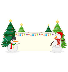 snowman and christmas tree paper frame vector image