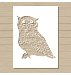 Stencil template of owl on wooden background vector
