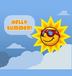 sun character say hello summer vector image