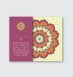 Template for brochure card with mandala vector
