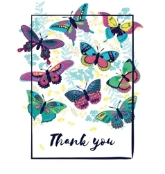 Thank you card with butterflies vector