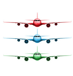 Three different colored realistic planes vector