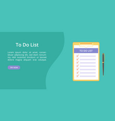 todo list on clipboard with pen green web template vector image