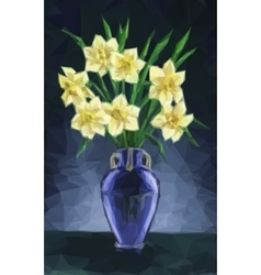 Vase with Narcissus Flowers vector