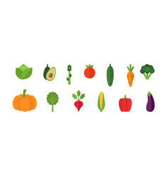 Vegetables set on white background fresh organic vector