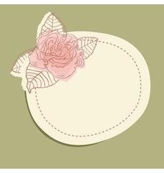 Vintage frame with flower branch and small hearts vector