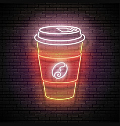 vintage glow signboard with a paper cup coffee vector image