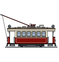 Vintage red and white tramway vector
