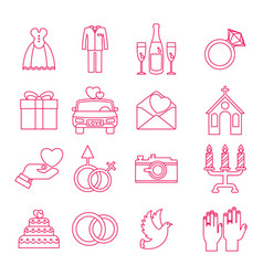 wedding icons outline set vector image