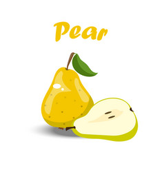 Whole and a slice of pear vector