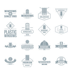 Window construction logo icons set simple style vector