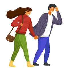 woman in sweater man in shirt people go holding vector image