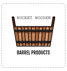 Wooden tub basket isolated on white background vector