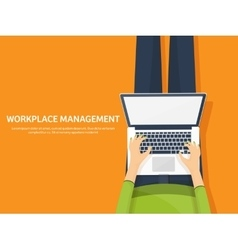 Workplace with table and computer Laptop vector image