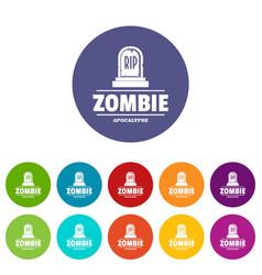 Zombie death icons set color vector