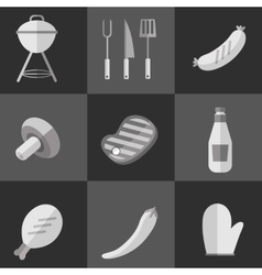 Barbecue grill black and white icons set vector image vector image