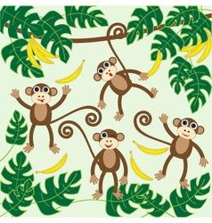 Four cute cartoon monkeys vector