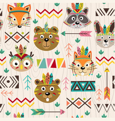 seamless pattern with tribal animals faces vector image vector image