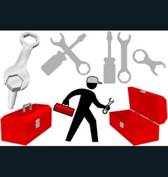 tool set repair work person objects icons vector image vector image