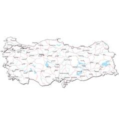 Turkey Black White Map vector image vector image
