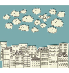 urban paper cutout doodle with airplane vector image vector image