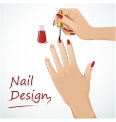 Woman hands putting a varnish on nails vector image vector image