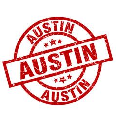 austin red round grunge stamp vector image vector image