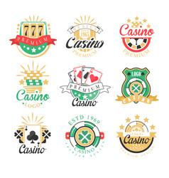 casino premium logo design set of colorful vector image