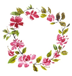 Frame with watercolor flowers vector image