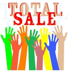 Hand with total sale word isolated in white vector image vector image