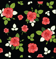 vintage red roses and leaves on black vector image