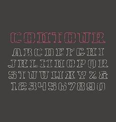Contour serif font and numerals vector image