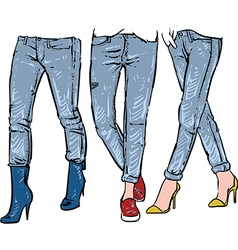 Drawing womens fashionable jeans sketch vector image vector image