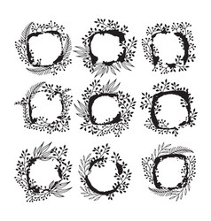 floral frames for text hand drawing vector image