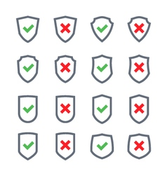 Set of shields with checkmark symbol flat vector image