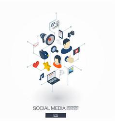 social media integrated 3d web icons digital vector image vector image