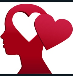 valentine girl heart head love mind space vector image vector image