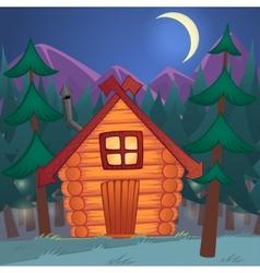 Cartoon wooden shack in the night woods vector